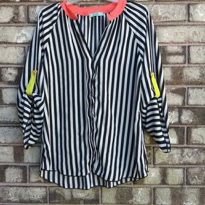 Karlie black and white striped blouse